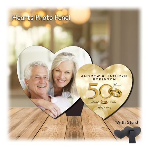 Personalised MDF Hearts Photo Wood Panel Print N5 - Golden 50th Wedding Anniversary Keepsake Gift